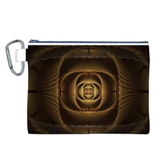 Fractal Copper Amber Abstract Canvas Cosmetic Bag (l)
