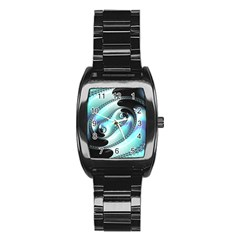 Background Pattern Jewellery Stainless Steel Barrel Watch