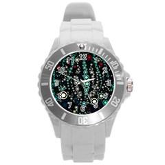 Modern Art Design Digital Round Plastic Sport Watch (l)
