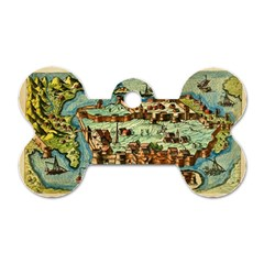 Medeival Ancient Map Fortress Dog Tag Bone (two Sides)