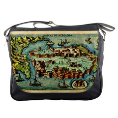 Medeival Ancient Map Fortress Messenger Bags