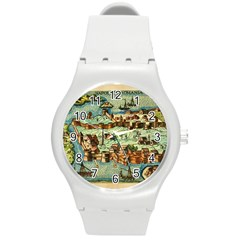 Medeival Ancient Map Fortress Round Plastic Sport Watch (m)