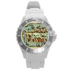 Medeival Ancient Map Fortress Round Plastic Sport Watch (l)