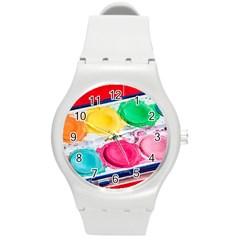 Palette Brush Paint Box Color Round Plastic Sport Watch (m)