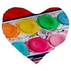 Palette Brush Paint Box Color Large 19  Premium Heart Shape Cushions
