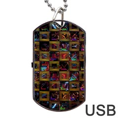 Kaleidoscope Pattern Abstract Art Dog Tag Usb Flash (two Sides)
