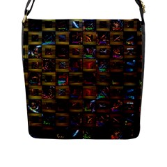 Kaleidoscope Pattern Abstract Art Flap Messenger Bag (l)