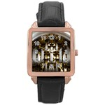 Organ Church Music Organ Whistle Rose Gold Leather Watch  Front