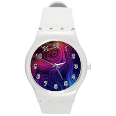 Abstract Pattern Art Wallpaper Round Plastic Sport Watch (m)