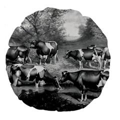 Holstein Fresian Cows Fresian Cows Large 18  Premium Flano Round Cushions