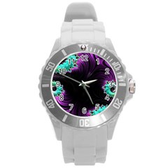 Fractals Spirals Black Colorful Round Plastic Sport Watch (l)