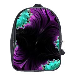 Fractals Spirals Black Colorful School Bag (xl)