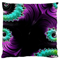 Fractals Spirals Black Colorful Large Flano Cushion Case (two Sides)