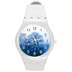 Nature Inspiration Trees Blue Round Plastic Sport Watch (m)