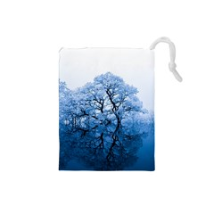 Nature Inspiration Trees Blue Drawstring Pouches (small)