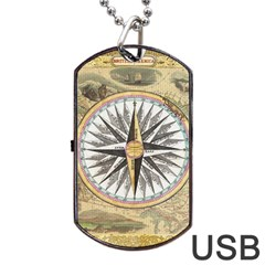 Map Vintage Nautical Collage Dog Tag Usb Flash (two Sides)