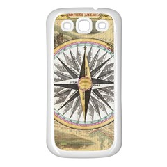 Map Vintage Nautical Collage Samsung Galaxy S3 Back Case (white)