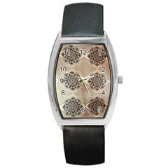 Flower Pattern Pattern Art Barrel Style Metal Watch