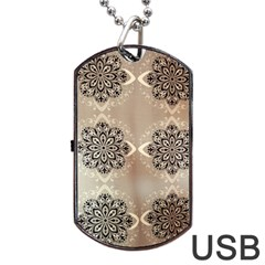 Flower Pattern Pattern Art Dog Tag Usb Flash (two Sides)