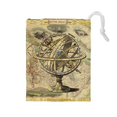 Map Compass Nautical Vintage Drawstring Pouches (large)
