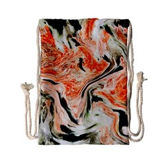 Marble Texture White Pattern Drawstring Bag (small)