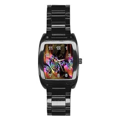 Fractal Colorful Background Stainless Steel Barrel Watch