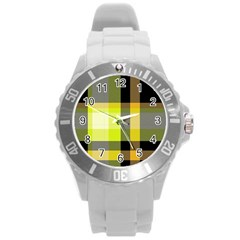 Tartan Abstract Background Pattern Textile 5 Round Plastic Sport Watch (l)