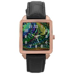 Fractal Art Background Image Rose Gold Leather Watch