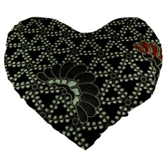 Batik Traditional Heritage Indonesia Large 19  Premium Heart Shape Cushions