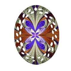Fractal Splits Silver Gold Ornament (oval Filigree)