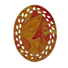 Texture Pattern Abstract Art Oval Filigree Ornament (two Sides)