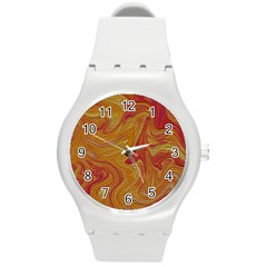 Texture Pattern Abstract Art Round Plastic Sport Watch (m)
