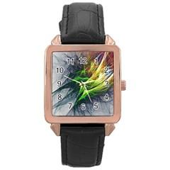 Fractal Art Paint Pattern Texture Rose Gold Leather Watch