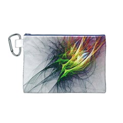 Fractal Art Paint Pattern Texture Canvas Cosmetic Bag (m)