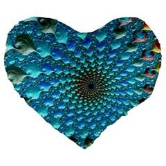 Fractal Art Design Pattern Large 19  Premium Flano Heart Shape Cushions