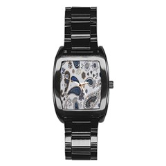 Pattern Embroidery Fabric Sew Stainless Steel Barrel Watch
