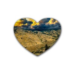 Hills Countryside Landscape Nature Rubber Coaster (heart)