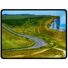 Cliff Coast Road Landscape Travel Double Sided Fleece Blanket (large)