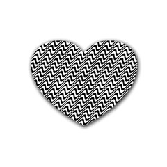 White Line Wave Black Pattern Rubber Coaster (heart)