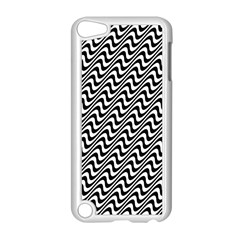 White Line Wave Black Pattern Apple Ipod Touch 5 Case (white)