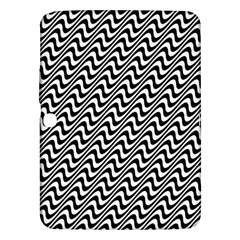 White Line Wave Black Pattern Samsung Galaxy Tab 3 (10 1 ) P5200 Hardshell Case