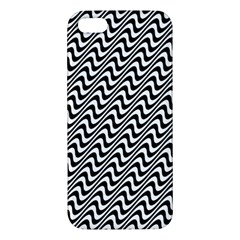 White Line Wave Black Pattern Iphone 5s/ Se Premium Hardshell Case