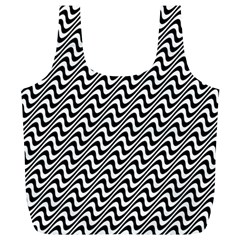 White Line Wave Black Pattern Full Print Recycle Bags (l)