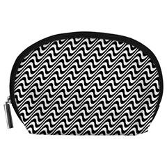 White Line Wave Black Pattern Accessory Pouches (large)