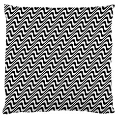 White Line Wave Black Pattern Standard Flano Cushion Case (one Side)
