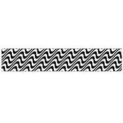 White Line Wave Black Pattern Large Flano Scarf