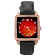 Sphere 3d Geometry Structure Rose Gold Leather Watch