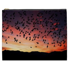 Sunset Dusk Silhouette Sky Birds Cosmetic Bag (xxxl)