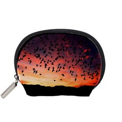 Sunset Dusk Silhouette Sky Birds Accessory Pouches (small)