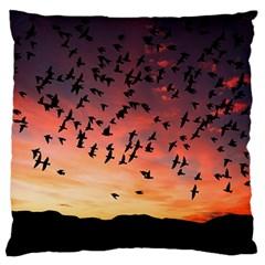 Sunset Dusk Silhouette Sky Birds Large Flano Cushion Case (two Sides)